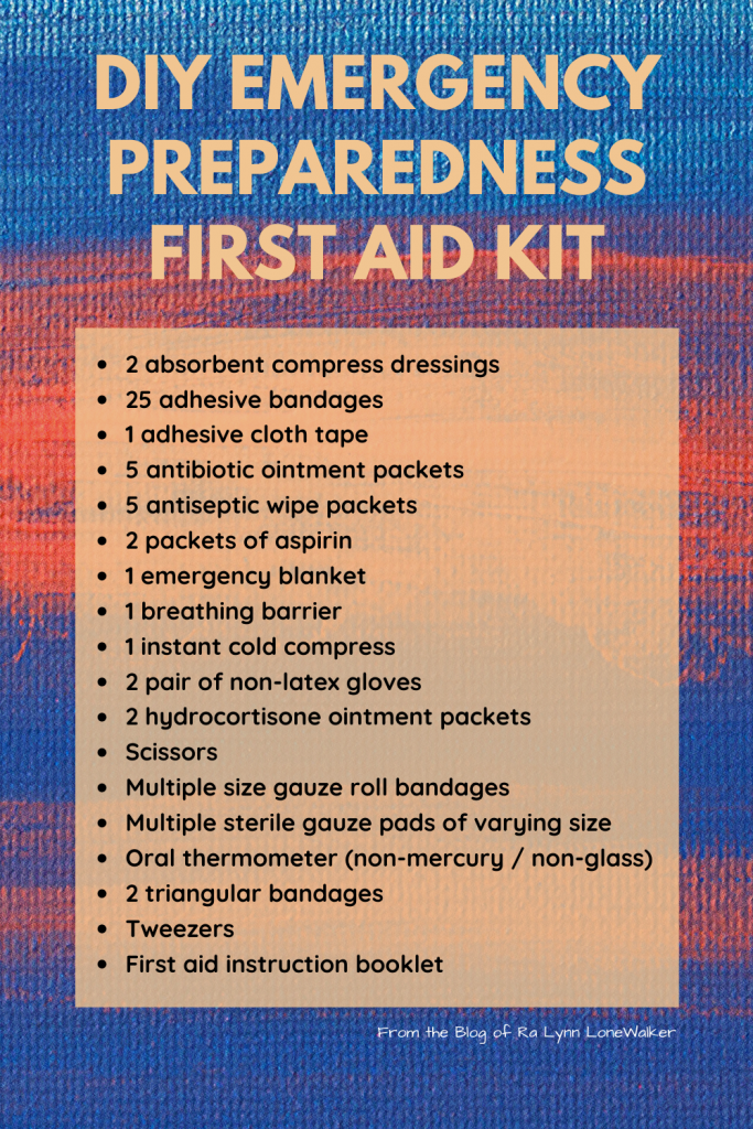 DIY emergency and disaster preparedness first aid kit